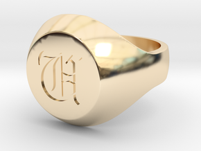 "Initial Ring ""U"" in 14k Gold Plated Brass"