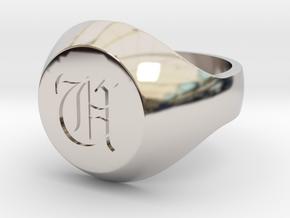 "Initial Ring ""U"" in Rhodium Plated Brass"