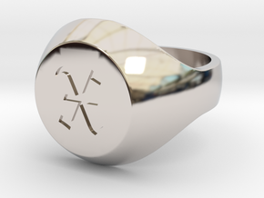 """Initial Ring """"X"""" in Rhodium Plated Brass"""