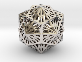 Icosahedron Dodecahedron Compound in Rhodium Plated Brass