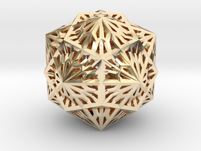 Icosahedron Dodecahedron Compound in 14k Gold Plated Brass