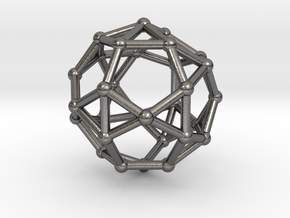 0816 J34 Pentagonal Orthobirotunda (a=1cm) #2 in Polished Nickel Steel
