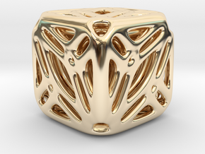 Nested Tessellated Cube  in 14k Gold Plated Brass