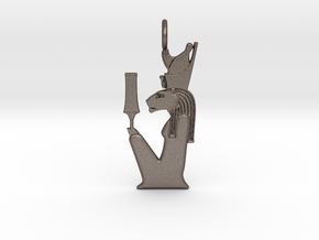 Sekhmet-Mut w/sekhem sceptre amulet in Polished Bronzed-Silver Steel