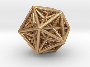 Icosahedron & Dodecahedron Struts Connected in Natural Bronze
