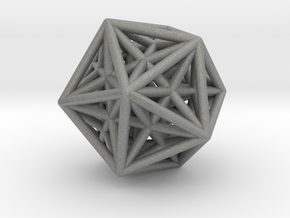 Icosahedron & Dodecahedron Struts Connected in Gray Professional Plastic