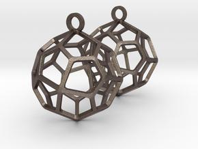 Pentagonal Icositetrahedron Earrings in Polished Bronzed-Silver Steel