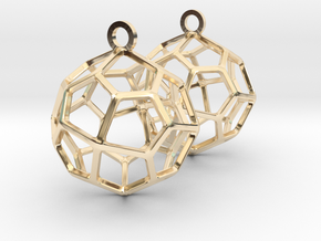 Pentagonal Icositetrahedron Earrings in 14k Gold Plated Brass