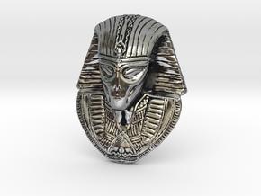 "Alien Gray Egyptian Pharaoh Head Pendant 1.5"" 38mm in Antique Silver"