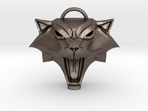 The Witcher: Cat school medallion (metal) in Polished Bronzed-Silver Steel
