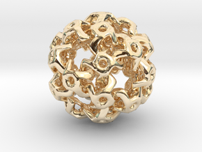 Nested Rhombic Triacontahedron  in 14K Yellow Gold