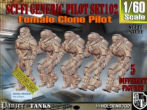 1/60 Sci-Fi Generic Female Pilot Set102 in Smooth Fine Detail Plastic