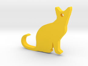 Cat Silhouette Keychain in Yellow Processed Versatile Plastic
