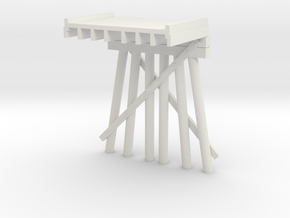 Part D Deck Trestle N (1:160) Modular Six Piles in White Natural Versatile Plastic