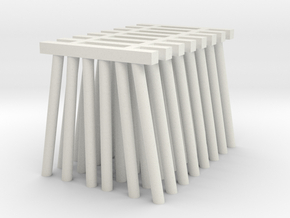 Medium Piers for Trestle N (1:160) Six Piles 8x in White Natural Versatile Plastic