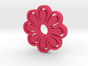 Flower Silhouette Keychain in Pink Processed Versatile Plastic