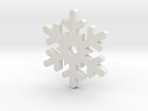 Snow Crystal Silhouette Keychain in White Premium Versatile Plastic