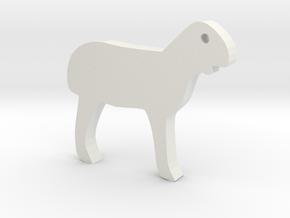 Lamb Silhouette Keychain in White Premium Versatile Plastic