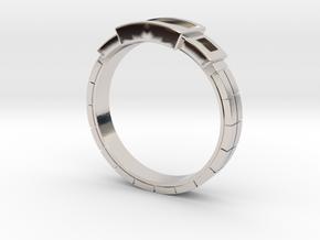 Women's - Gem (Ready) Ring #1 in Rhodium Plated Brass