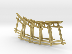 repetitive torii gate necklace in Natural Brass