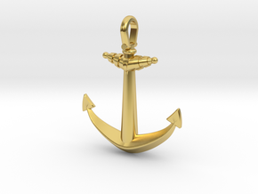 Ship anchor in Polished Brass