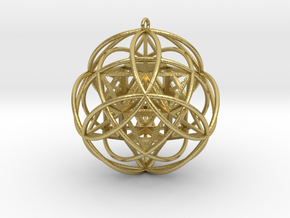 """Stellated Vector Equilibrium 9 Ring Pendant  2.5""""  in Natural Brass"""