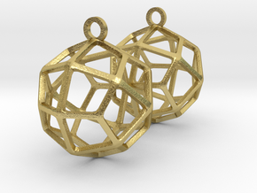Deltoidal Icositetrahedron Earrings in Natural Brass