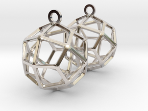 Deltoidal Icositetrahedron Earrings in Rhodium Plated Brass