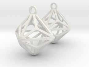 Triakis Octahedron Earrings in White Natural Versatile Plastic