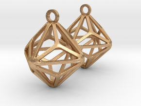 Triakis Octahedron Earrings in Natural Bronze