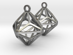 Triakis Octahedron Earrings in Natural Silver