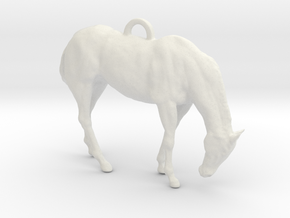 Horse Key chain or pendant in White Natural Versatile Plastic