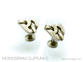 "Hebrew Monogram Cufflinks - ""Shin Reish"" in Polished Bronzed Silver Steel"