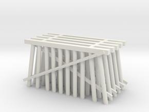 Double Track Trestle N (1:160) 5 Pack Ten Piles in White Natural Versatile Plastic