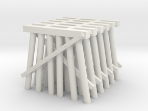 Trestle N (1:160) Six Piles Piers 6 Pack V.1 in White Natural Versatile Plastic