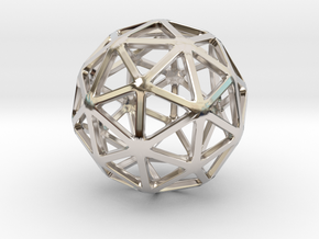 Pentakis Dodecahedron in Rhodium Plated Brass: Small