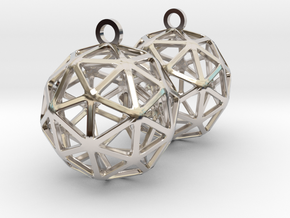 Pentakis Dodecahedron Earrings in Rhodium Plated Brass