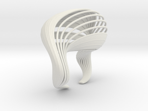 Liquid Tension Bangle - Surface - S in White Natural Versatile Plastic