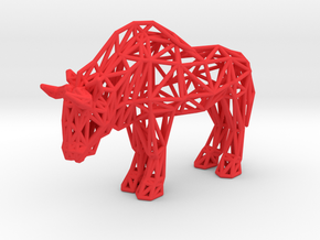 Wildebeest (adult) in Red Processed Versatile Plastic
