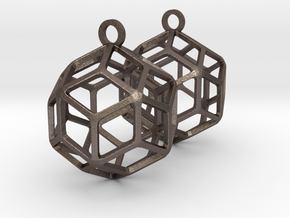Rhombic Triacontahedron Earrings in Polished Bronzed-Silver Steel