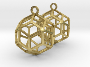 Rhombic Triacontahedron Earrings in Natural Brass