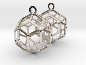 Rhombic Triacontahedron Earrings in Rhodium Plated Brass