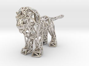 Lion (adult male) in Rhodium Plated Brass