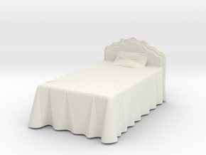 Miniature Victorian Bed 1:48 in White Natural Versatile Plastic: 1:24