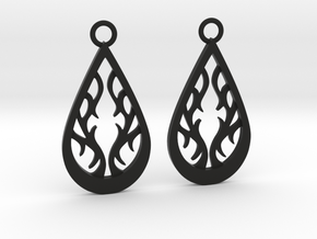 Fire earrings in Black Natural Versatile Plastic: Medium
