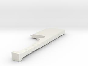Larger Cleaver Hilt 1 in White Natural Versatile Plastic