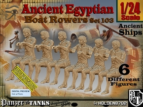 1/24 Ancient Egyptian Boat Rowers Set103 in White Natural Versatile Plastic