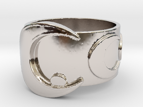 Moon stick inspired ring in Rhodium Plated Brass: 5 / 49