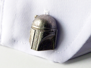 Boba Fett Cufflinks in Polished Nickel Steel
