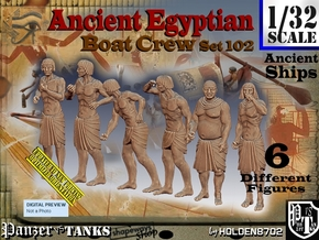 1/32 Ancient Egyptian Boat Crew Set102 in White Natural Versatile Plastic